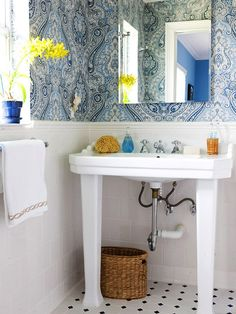 1000 images about blue bathroom design ideas on pinterest for Bright bathroom wallpaper