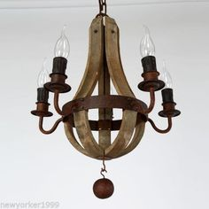 Vintage-Wooden-Candle-Arms-Ceiling-Chandelier-Pendant-Lamp-Lighting-Fixture-USA