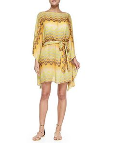 Long-Sleeve Belted Wave-Print Caftan  by Clube Bossa at Neiman Marcus.