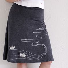 Handmade grey knee length A-line maternity skirt . Plus size skirt-The creek and the paper boats -