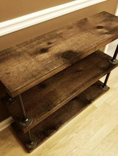 """$10 in cedar wood, floor phalanges & 3/4"""" black galvanized 12"""" pipe. Super simple, eclectic & cheap! by dawn"""