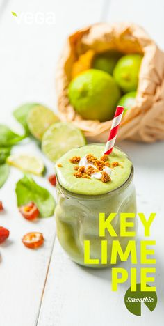 Key Lime Pie Smoothie: This pie-meets-smoothie creation is not only fresh and tart, but the added coconut whipped cream makes it decadent too. Try it as a guilt-free afternoon snack! #VegaSmoothie #BESTSMOOTHIE #VEGASMOOTHIE
