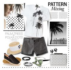 """Pattern Mixing: Palm Trees and Polka Dots"" by margaretferreira ❤ liked on Polyvore featuring Garance Doré, Kreisi Couture, Buddha to Buddha, David Yurman, Kavu, rag & bone/JEAN, DB Designs, L.K.Bennett, summerstyle and mixitup"
