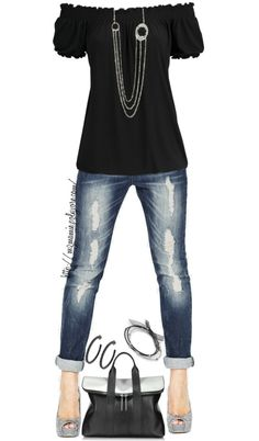 I like the black peasant style top. I think I would like it better w/skinny jeans & black or silver flats or w/wide leg jeans & black boots