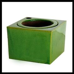 """5"""" Tropical Green Square African Violet Pot with 3.5 inch inner pot"""