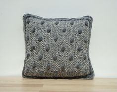 Knitting Pillow Grey Pillow Home Decor by GreenCatStudio on Etsy