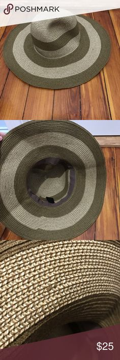 Brown beige striped paper sun hat summer floppy Beautiful floppy wide brimmed sun hat made of paper and foldable by d & y. Great condition only worn once. The only issue I see is a stitching error in the inside as shown in picture 3. d&y Accessories Hats