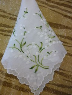 Vintage Handkerchief With Embroidered Lily of the Valley