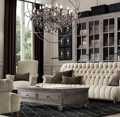 9' 1860 Napoleonic Tufted Upholstered Sofa  I love the sofa and the chandelier