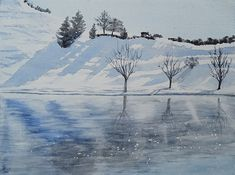 Watercolors, Shades, Mountains, Winter, Nature, Travel, Kunst, Winter Time, Water Colors
