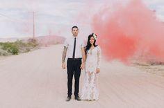 Smoke bomb portrait in the desert