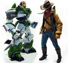 """Buzz Lightyear and Sheriff Woody as you haven't seen them before. Reimagined as action figure """"badasses"""" by designer Luis Eduardo Vargas Montoya. No word if these custom-made """"toys"""" will ever be mass produced, but I'll be first in line if they are."""