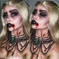 Victorian Vampiress | IG @voodoobarbiedoll | Vampire, Vampire Makeup, Halloween Inspiration, Bloody Makeup, SFX, Special Effects Makeup, Vintage Necklace, Painted Necklace, Black Lipstick, Dark Makeup, Scary Makeup, Horror, Creepy