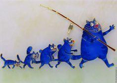Синие коты Рины Зенюк. Витражная картина.. Handmade.