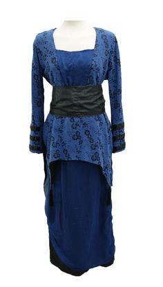 Edwardian Ladies Blue and Black Tea Dress
