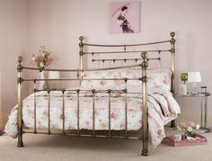 The Edmond is a magnificent bed frame inspired by Victorian design and finished in antique brass. Available as a Double, King or Superking, the Edmond will transform any bedroom into a palace. Victorian Design, Metal Beds, Bed Mattress, King Size, Antique Brass, Cribs, Toddler Bed, Bedroom Decor, It Is Finished
