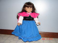 American Girl  Frozen Anna 1 piece Dress and Cape by sew57sew