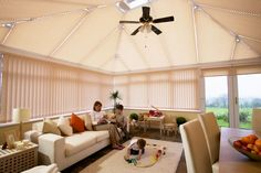 Your Blinds - Vertical - Conservatory - Madrid Amber Conservatory Insulation, Conservatory Roof Blinds, Conservatory Ideas, Electric Blinds, Relaxation Room, Blinds For Windows, Window Treatments, Sweet Home, Living Room