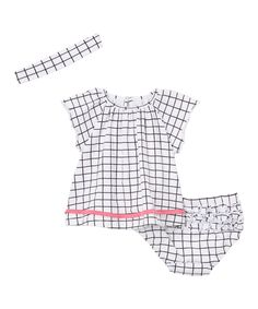 Black & White Plaid Angel-Sleeve Top Set - Infant