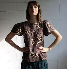 graphic tierd blouse s by cheapopulance on Etsy, $25.00
