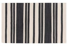 8'x11' Rose Flat-Weave Rug, Coal Black cover sofa with flat weave rug