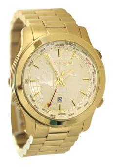 Michael Kors MK5960 Runway GMT Gold SS Women's World Globe Dial Watch