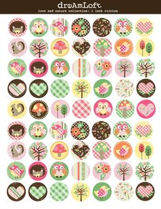 Love and Nature 1 x 1 inch Circle Digital Collage Sheet for bottle caps, jewelry, magnets, stationary, invitations, bows, scrapbooking