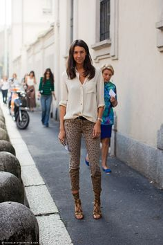 animal print cropped pants, lace up sandals, neutral shirt