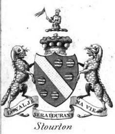 A black and white emblazonment of the achievement of arms of the Barons…