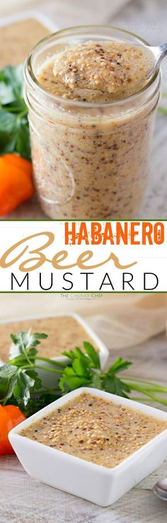Habanero Beer Mustard - This easy homemade beer mustard gets a spicy kick from fresh habanero peppers. Once you try homemade mustard, you won't want to buy it anymore! Habanero Recipes, Hot Sauce Recipes, Beer Recipes, Canning Recipes, Spicy Recipes, Top Recipes, Coffee Recipes, Vegetarian Recipes, Homemade Beer