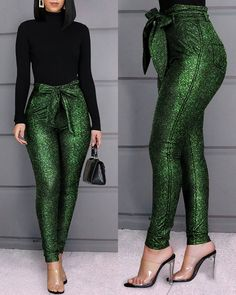 Style:Fashion Pattern Type:Solid Material:PU Decoration:Paperbag Length:Regular Occasion:Casual Package Belt) Note: There might be difference according to manual measurement. Please check the measurement chart carefully before you bu. Trend Fashion, Look Fashion, Womens Fashion, Fashion Pattern, Chic Outfits, Fashion Outfits, Camo Fashion, Fashion Pants, Sequin Pants