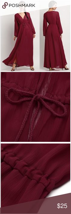 """Boho Tie Waist Long Sleeve Slit Chiffon Maxi Dress """"Material: Chiffon High tie waist v neck front split loose chiffon dress with long sleeve"""" ... """"S(4)---Shoulder 23.4 inch---Sleeve 18.5 inch---Chest 41.3 inch---Length 56.9 inch"""" Dress is semi-transparent. Beautiful wine, burgundy, deep red color. Perfect for the holidays! Please feel free to message me with any questions! 🙂 Dresses Maxi"""