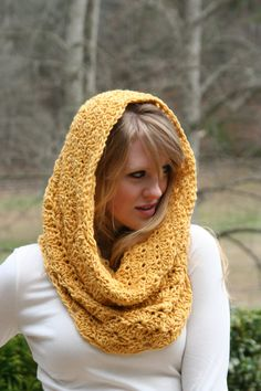 Chunky Cowl Scarf Snood Scarf  Golden Yellow by crochetgallery, $89.00