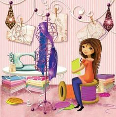 melle Elina dans un atelier de couture Sewing Art, Love Sewing, Drawing Block, Sewing Clipart, Decoupage, Sewing Quotes, Sewing Room Decor, Bible Study For Kids, Sewing Baskets
