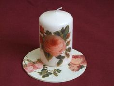 Decoupage candle with roses - Świeca z różami Pillar Candles, Decoupage, Roses, Blue Prints, Pink, Rose, Candles