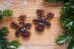 Reindeer biscuits- make gingerbread men and turn upside down! Edible Christmas Gifts, Christmas Gifts To Make, Best Christmas Presents, Christmas Hamper, Xmas Food, Edible Gifts, Christmas Desserts, Christmas Treats, Christmas Baking