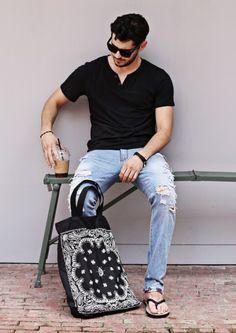Bandana Prints Canvas Bag, Men's Spring Summer Fashion.