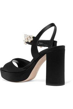 Miu Miu - Faux Pearl-embellished Satin Platform Sandals - Black - IT35.5