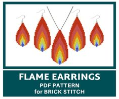 Flame earrings bead pattern for BRICK STITCH Flame pendant   Etsy