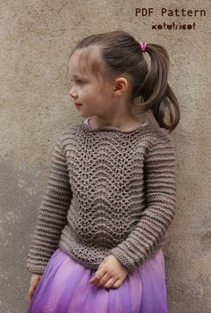 Knitting Pattern Manon pullover sizes: 2 to 14 yo por KatyTricot