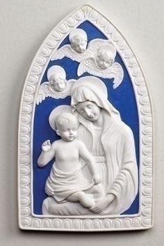 "Madonna And Child Wall Plaque - Della Robbia. Beautiful Virgin Mary holding the baby Jesus in her arms. Description 8"" Della Robbia wall plaque Division Giftware Materials resin and stone mix Dimensio"