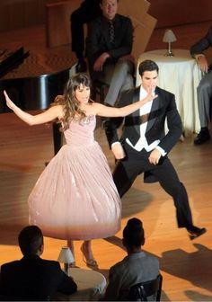 Lea Michele and Darren Criss as Rachel and Blaine season 5 Glee--Bash singing Broadway Baby