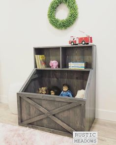 PDF Plans for Slanted Toy Box Bookshelf by Rustic Meadows