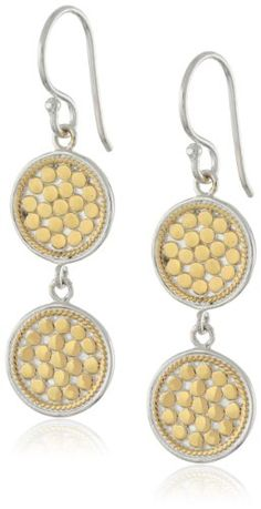 Anna Beck Designs %22Gili%22 18k Gold plated Wire Rimmed Double Disk Drop Earrings