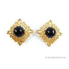 1992 Avon 'Bold Burst' Black Goldtone Earrings