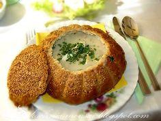 "polish traditional soup ""zurek"" in bread"