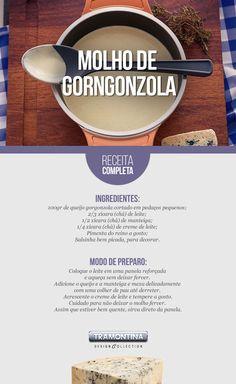 O molho de gorgonzola é uma ótima opção para servir com vários pratos, como pãezinhos, massas, carnes, legumes e outras opções.