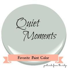 Quiet Moments ༺❀༻ AND. it's a paint color? Favorite Paint Color ~ Benjamin Moore Quiet Moments Quiet Moments is a very soft, muted gray with a hint of blue and a tiny touch of green. Colores Benjamin Moore, Benjamin Moore Paint, Benjamin Moore Green Gray, Palladian Blue Benjamin Moore, Benjamin Moore Bedroom, Interior Paint Colors, Paint Colors For Home, Paint Colours, Paint Decor