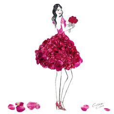Ideas For Fashion Design Drawings Dresses Grace Ciao Moda Floral, Arte Floral, Grace Ciao, Arte Fashion, Floral Fashion, Flower Petals, Flower Art, Art Flowers, Flower Girls