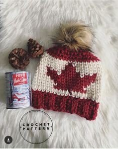 O, Canada, eh? We designed this original beanie for an advanced beginner crocheter. This pattern includes tutorials to help guide you through each technique used. Dishcloth Knitting Patterns, Crochet Patterns, Faux Fur Pom Pom, Main Colors, Baby Patterns, Crochet Hooks, Knitted Hats, Etsy Shop, Pure Products